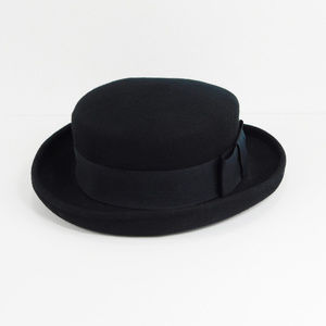 Bowler Derby Hat Rolled Brim with Ribbon Band